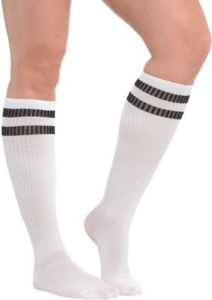 White Stripe Athletic Knee-High Socks
