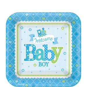 Welcome Baby Boy Baby Shower Dessert Plates 8ct