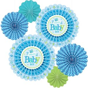 Welcome Baby Boy Baby Shower Paper Fan Decorations 6ct