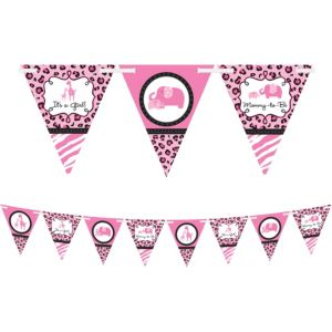 Pink Safari Girl Baby Shower Pennant Banner