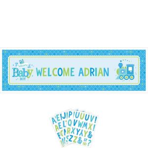 Giant Welcome Baby Boy Baby Shower Personalized Banner Kit