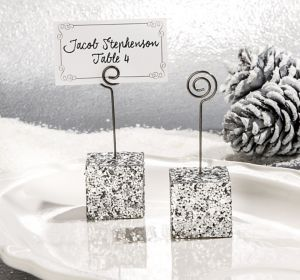 Silver Glitter Cube Place Card Holder