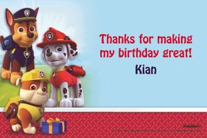 Custom Paw Patrol Thank You Notes