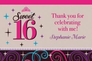Custom Sweet 16 Celebration Thank You Notes