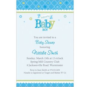 Custom Welcome Little One Boy Invitations