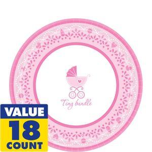 Pink Stroller Baby Shower Dessert Plates 18ct