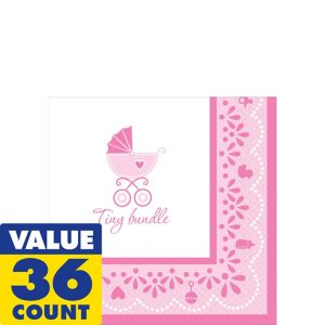 Pink Stroller Baby Shower Beverage Napkins 36ct