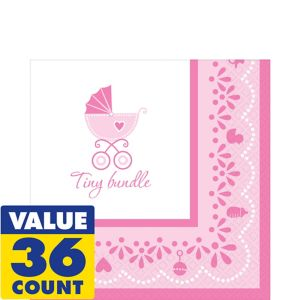 Pink Stroller Baby Shower Lunch Napkins 36ct