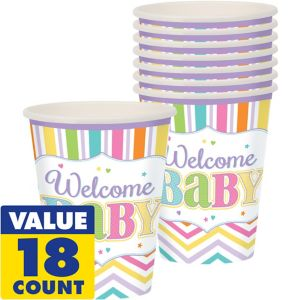 Pastel Rainbow Chevron Baby Shower Cups 18ct