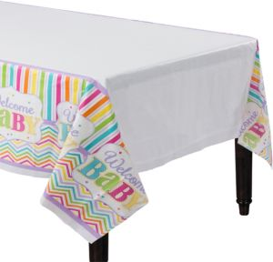 Pastel Rainbow Chevron Baby Shower Table Cover