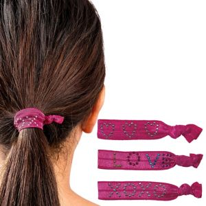 Sweet Heart Hot Pink Ribbon Hair Ties 3ct