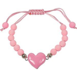 Pink Sliding Knot Heart Bracelet