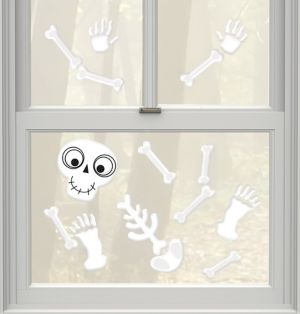 Friendly Skeleton Gel Cling Decals 35ct