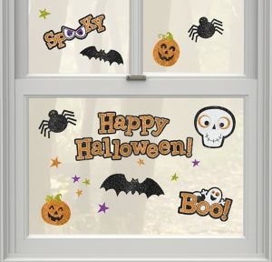 Glitter Happy Halloween Cling Decals 18ct