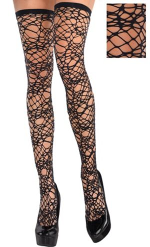 Black Spider Web Thigh High Stockings