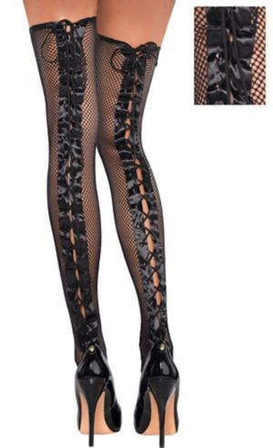 Lace-Up Fishnet Thigh High Stockings