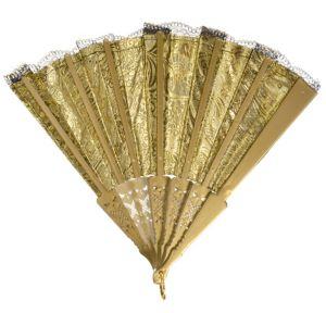 Parisian Black & Gold Lace Fan