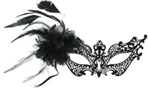 Black Filigree Feather Masquerade Mask