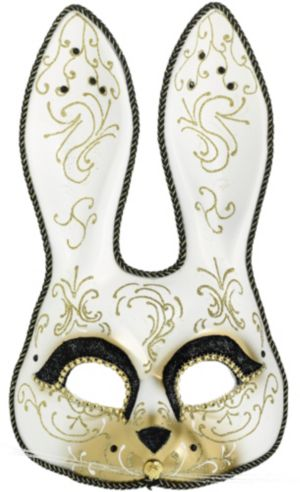 Glitter Gold Scroll Bunny Mask