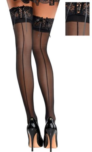 Black Corset Top Thigh High Stockings