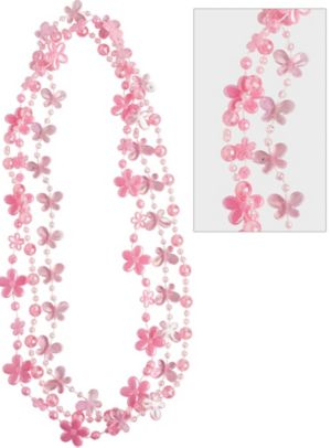 Child Light Pink Flower Necklaces 3ct