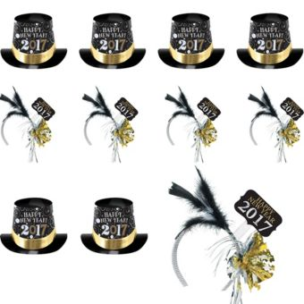 2018 New Year's Top Hats & Feather Headbands 25ct