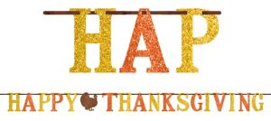 Glitter Happy Thanksgiving Letter Banner 12ft