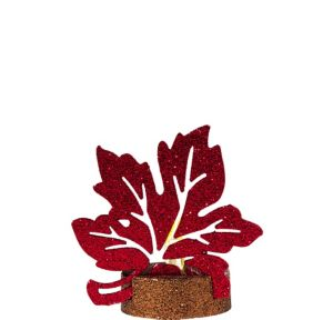 Glitter Red Maple Leaf Flameless LED Candle