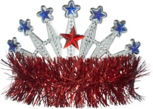 Red, White & Blue Star Tinsel Tiara