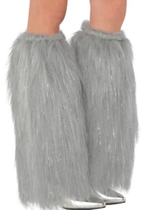 Silver Furry Leg Warmers