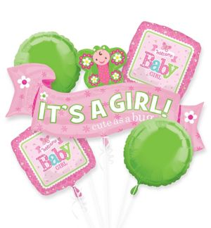 Girl Welcome Baby Balloon Bouquet 5pc - Welcome Little One
