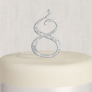 Rhinestone Silver Number 8 Cake Topper