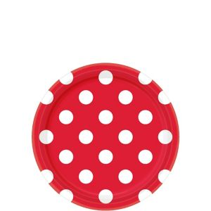 Red Polka Dot Dessert Plates 8ct
