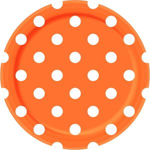 Orange Polka Dot Lunch Plates 8ct