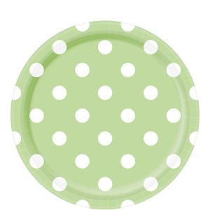 Leaf Green Polka Dot Lunch Plates 8ct