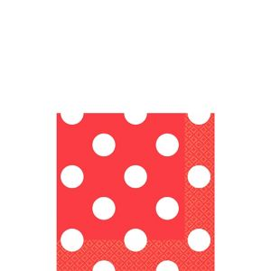Red Polka Dot Beverage Napkins 16ct