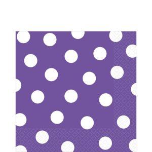 Purple Polka Dot Lunch Napkins 16ct