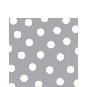 Silver Polka Dot Lunch Napkins 16ct