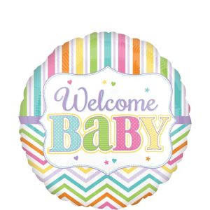 Pastel Rainbow Chevron Welcome Baby Balloon