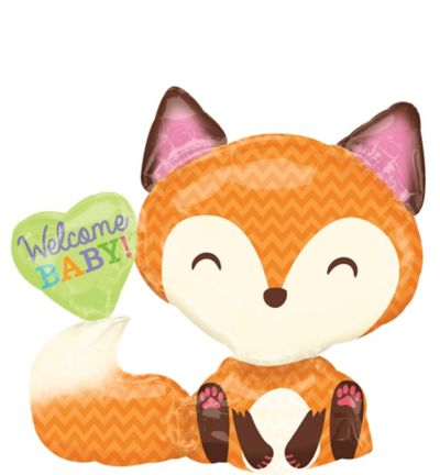Welcome Baby Balloon Woodland Fox 36in X 33in Party City