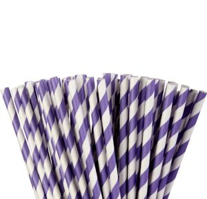 Purple Striped Paper Straws 80ct