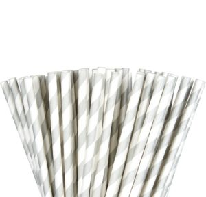 Silver Striped Paper Straws 80ct