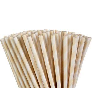 Vanilla Cream Striped Paper Straws 80ct