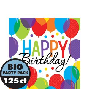 Rainbow Balloon Bash Birthday Lunch Napkins 125ct