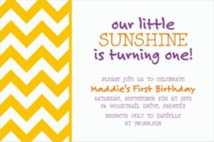 Custom Sunshine Yellow Chevron Invitations