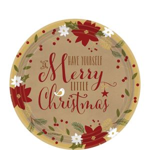 Merry Little Christmas Kraft Dessert Plates 18ct