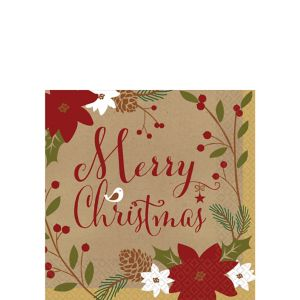 Merry Little Christmas Kraft Beverage Napkins 36ct