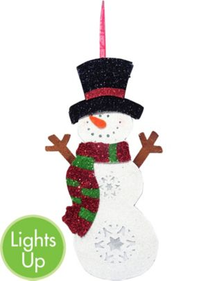 Light-Up Glitter Snowman Sign