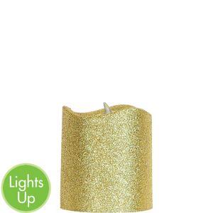 Glitter Gold Pillar Flameless LED Candle