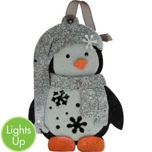 Light-Up Silver Glitter Penguin Ornament
